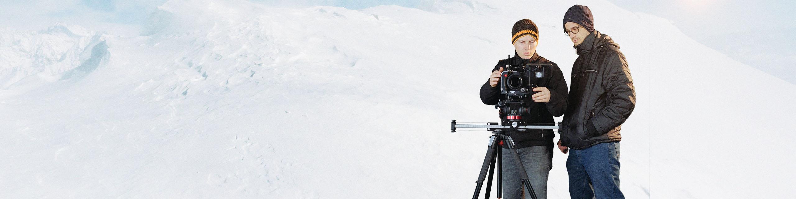 Filmproduktion mit Kamera auf Slider
