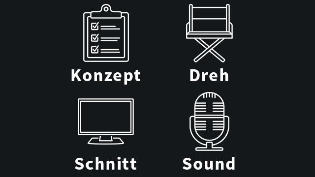 Auflistung der umbelichtet! Skills eines Produktionsprozesses: Konzept, Dreh, Schnitt & Sound